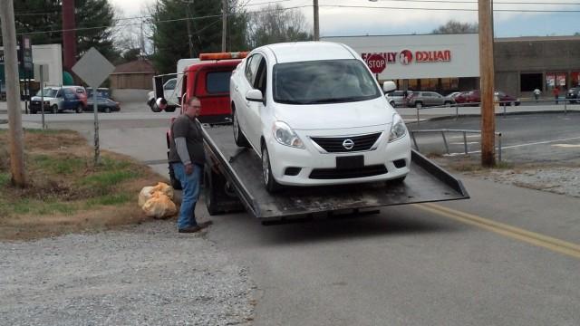 Unloading the rental car